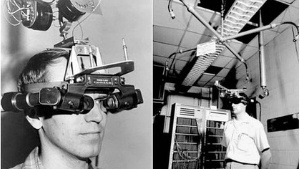 Ivan Sutherland wearing his augmented reality headset